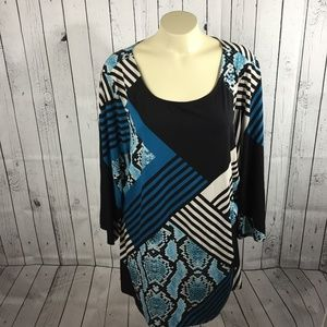 ❣️Alfani Woman Blue & Black Patterned Top Size 3X